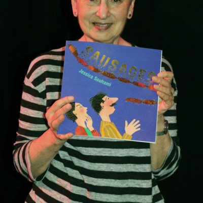 Jessica with her book Sausages