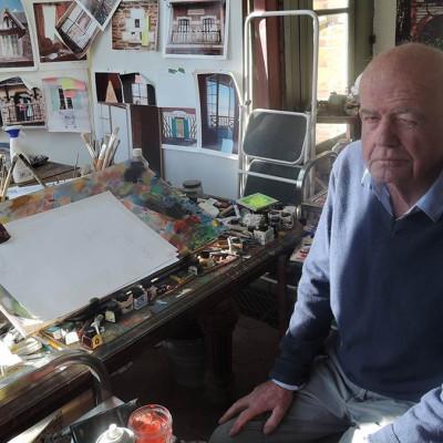 John Burningham in his studio