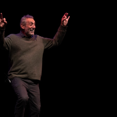 Michael on stage at the Curve theatre