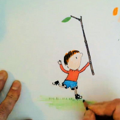 Neal Layton drawing Stanley from *Stanley's Stick*, during his live digital festival performance