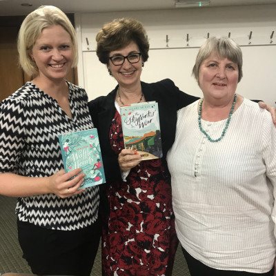 Nicolette Jones with authors Maria Parr and Hilary McKay at the Stafford Gatehouse in 2019.