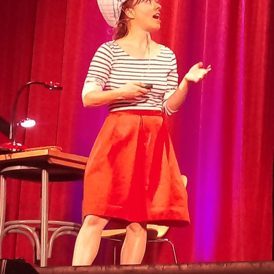 Victoria wore a paper sailboat hat and nautical stripes throughout her performance