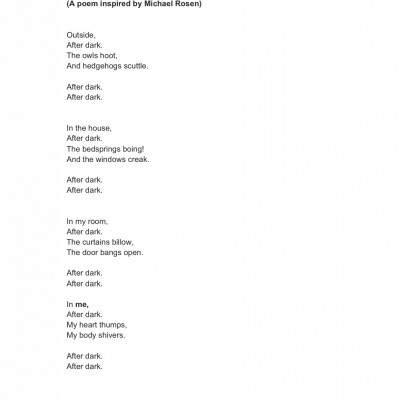 Inspired by Michael Rosen, Francesca FitzGerald sent us this lovely poem.