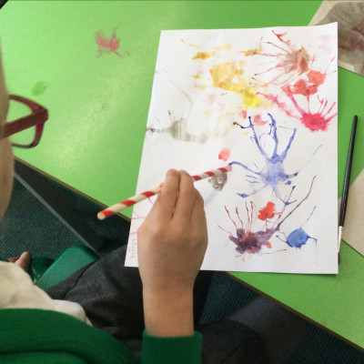 Inspired by Jo Empson's book *Rabbityness*, Year 2 Skylarks Class at Lower Heath Primary sent us this painting