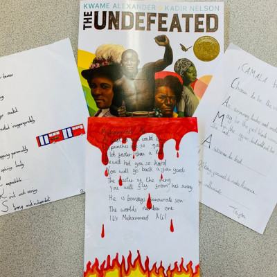 Some of the work completed by children at Bangabandhu primary school, inspired by *The Undefeated*
