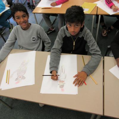 Children working in an Alexis Deacon workshop