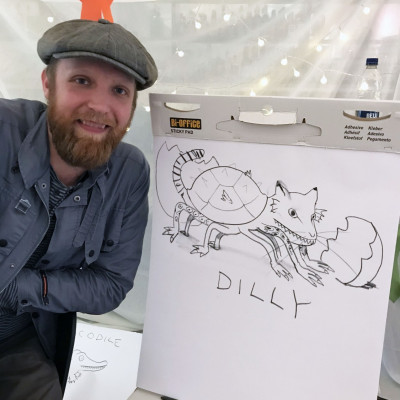 Alexis with his alien drawing