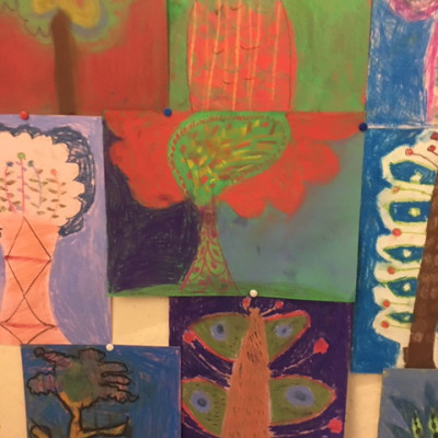 Examples of the beautiful artwork created by children in Aurélia Fronty's workshop