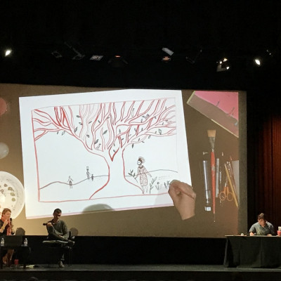 Aurelia's live drawing was broadcast to the big screen