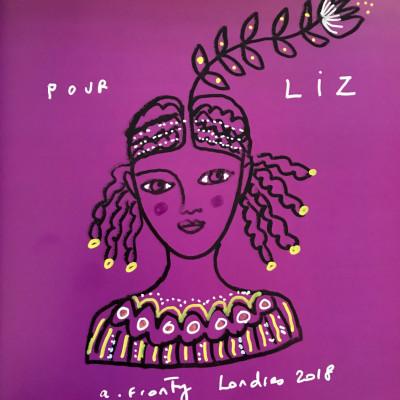 Aurélia drew a beautiful dedication in each book she signed