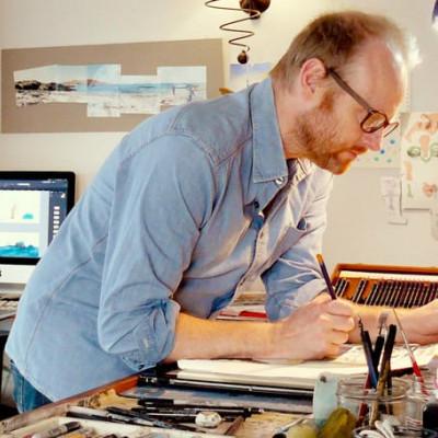Chris Naylor-Ballesteros at work in his studio