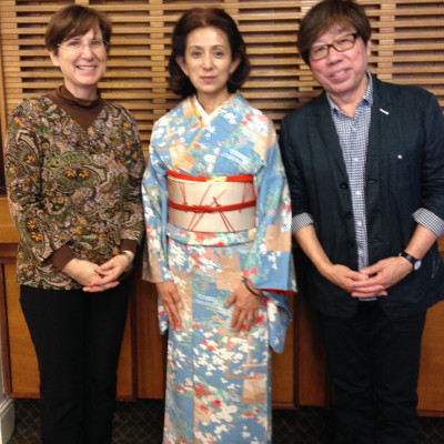 Cathy Hirano, Megumi Iwasa and Jun Takabatake after their theatre performance in Stafford in 2017
