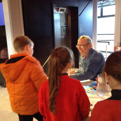 Michael signed lots of books after his performance at the Chester Storyhouse