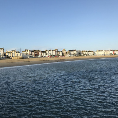 The seaside opposite the theatre!