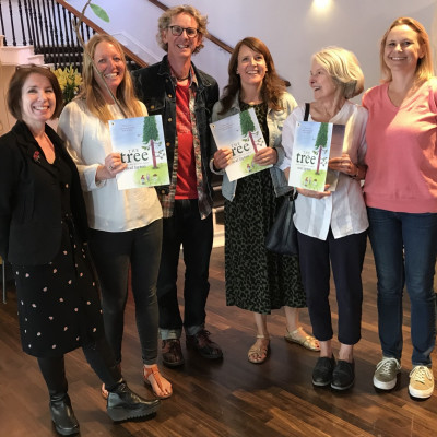 The Children's Bookshow team with Neal and copies of *The Tree*