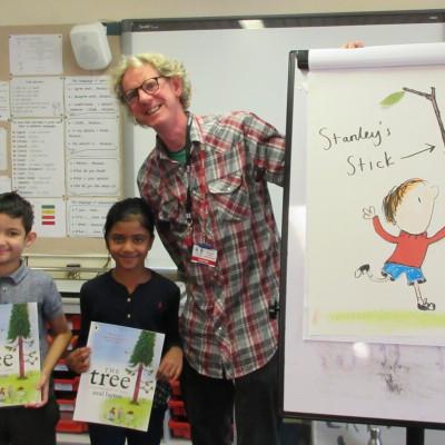 Neal Layton with some children from Blue Gate Fields Junior school during their in school workshop