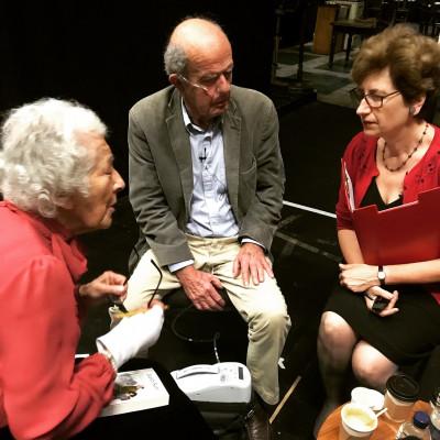 Nicolette Jones, John Burningham and Judith Kerr preparing for their performance at the Old Vic in 2017