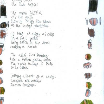 A poem written by a child in one of Rachel Rooney's workshops in a Bristol school