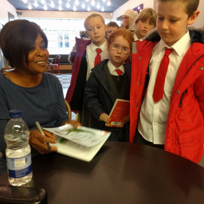 Valerie signed books for the children after her performance