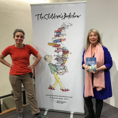 Viviane and Gitte with The Children's Bookshow sign