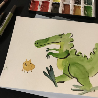 Viv's painting of crocodile, and some of her painting materials