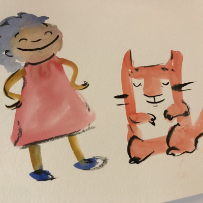 Viv's painting of Anna and a cat