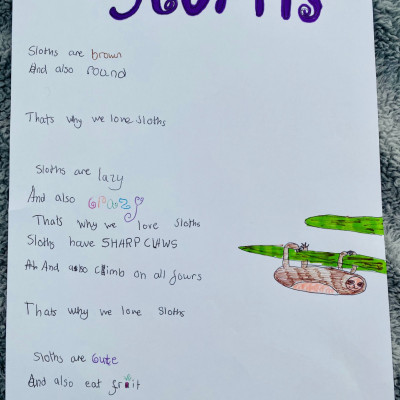 Inspired by Michael Rosen, Chloe Ferris sent us this poem about Sloths
