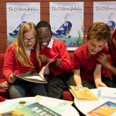 Children enjoying books at a Children's Bookshow event