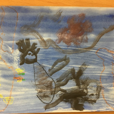 Lovely wax resist picture from Kineton Primary