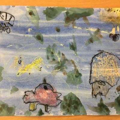 Jungle Jamboree wax resist from Kineton Primary